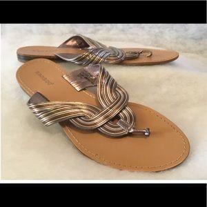 Gold & Silver Strap Gladiator Slip On Sandals